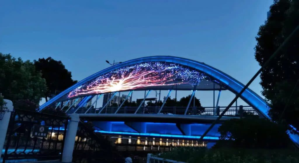 led curtain screen on bridge